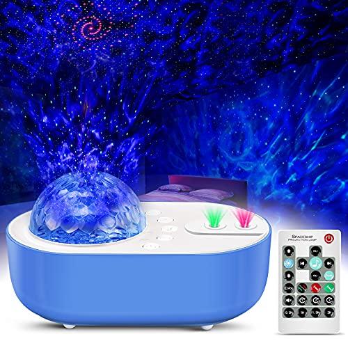 LED Sternenhimmel Projektor Nachtlichter 360° Rotierender Wasserwellen Ozeanwellen Projektions Lampe mit Bluetooth Musik Lautsprecher & Fernbedienung für Baby Erwachsenen Partys und Zimmer Dekoration