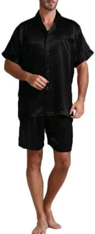 Men's Pajamas Set Short Sleeve Pajama Sleepwear black M