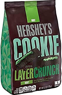 HERSHEY'S Cookie Layer Crunch Bar Mint Chocolate Candy, Snack Size 6.3 Ounce (Pack of 8)