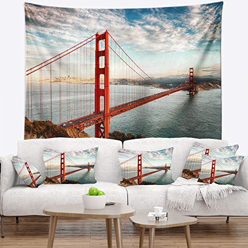 Designart Golden Gate San Francisco Sea Bridge Tapestry Blanket D Cor Wall Art For Home And Office Large 60 In X 50 In Shefinds
