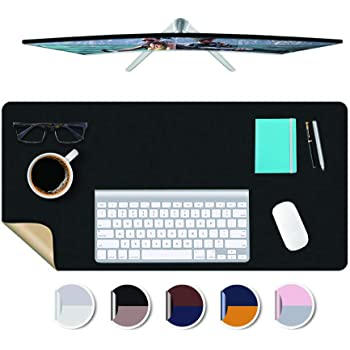 VersionB PU Leather Office Desk Computer Keyboard Mouse pad Non-slip Gaming mat with comfortable writing surface Waterproof 55x28inch Ultra thin 2mm-Blue 140x70cm