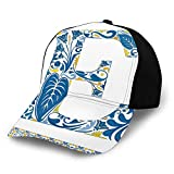 Gorra de béisbol lisa, lavada, azulejos portugueses y arreglo floral colorido diseño artístico alfabeto retro ajustable sombrero de papá regalo para hombres y mujeres