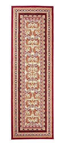 TAPISO Atlas Tappeto Passatoia Camera Corridoio Salotto Soggiorno Tradizionale Rosso Classico 80 x 300 cm