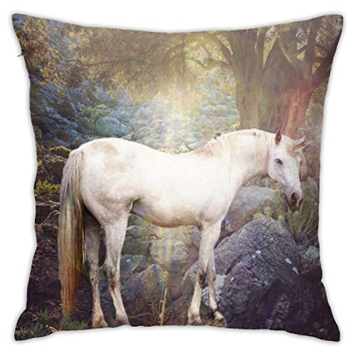 N/Q Beatiful White Unicorn Decorative Throw Pillow Cover Zippered Cushion Case for Home Sofa Bedroom Car Chair House Party Indoor Outdoor 18 X 18 Inch
