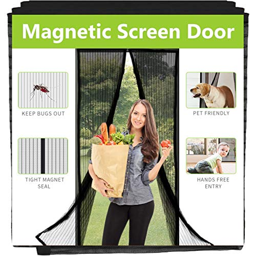 Aoocan Magnetic Screen Door - Heavy Duty mesh Door Screen and Full Frame Hook & Loop Fits Door Size up to 34'-82' Max- Black | Fresh air in & Keep Bugs Out
