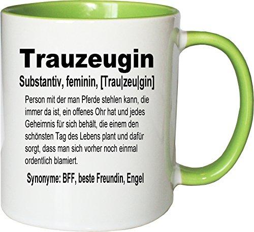 Mister Merchandise Kaffeebecher Tasse Trauzeugin Definition Hochzeit Frau Maid Bride Geschenk Dankeschön Teetasse Becher Weiß-Grün