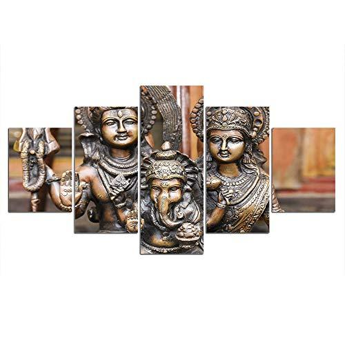 BHJIO Cuadro En Lienzo 5 Partes Ganesha Poster Arte De La Pared Imagen Cuadros En Lienzo Pintura 5 Paneles Moderno para Niños Habitación Decoración para El Hogar Regalo 150Cmx80Cm