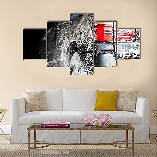 WKXZZS Coche en un Lavado de Autos Impresión de 5 Piezas Material Tejido no Tejido Impresión Artística Imagen Gráfica Decoracion de Pared Abstracto Oriente Cuadros Modernos Imagen