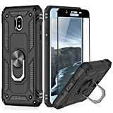 TJS Phone Case Compatible with Samsung Galaxy J7 2018/J7 Refine/J7 Star/J7 Eon/J7 TOP/J7 Aero/J7 Crown/J7 Aura, [Full Coverage Tempered Glass Screen Protector] Metal Ring Magnetic Support (Black)
