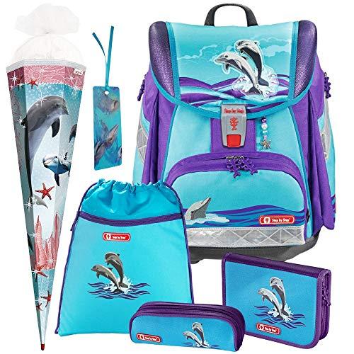Happy Dolphins - Delfin - Touch 2 Hama Step by Step Schulranzen-Set 6 TLG. mit SCHULTÜTE - LESEZEICHEN GRATIS