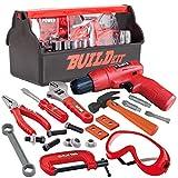 JOYIN Juego de 19 herramientas de construcción con una caja de herramientas que incluye herramientas de construcción, accesorios y taladro eléctrico de juguete