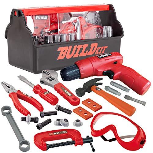 JOYIN Juego de 19 herramientas de construcción con una caja de herramientas...