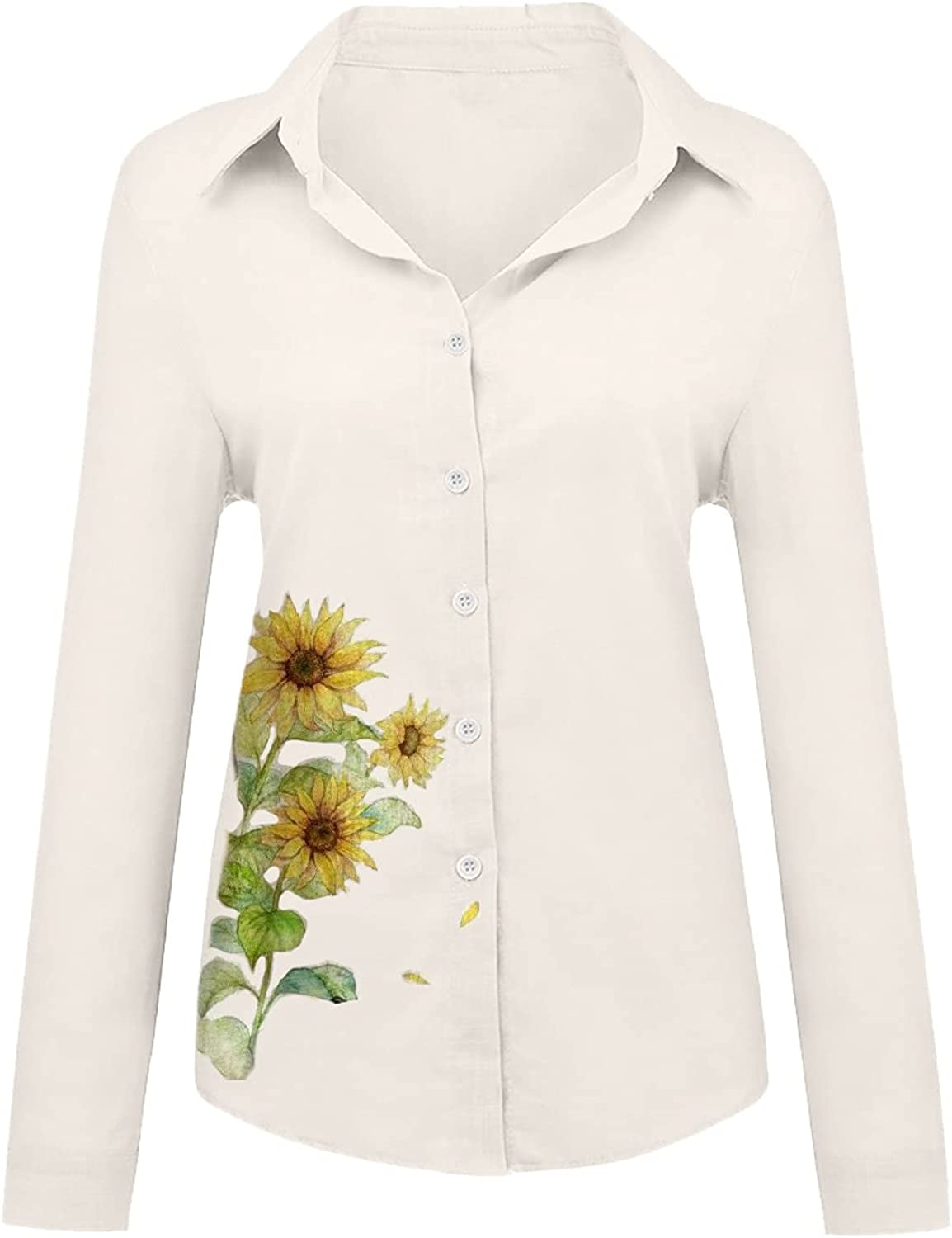 Women's Long Sleeve Shirts Cotton Linen Blouse Tops Loose Casual Dragonfly Print Button Shirt Comfortable Tees