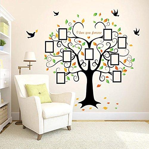 WandSticker4U®- XXL Wandtattoo FOTOBAUM bunt I Wandbilder: 160x204 cm I Wandsticker Familie Baum Bilder-Foto-rahmen Aufkleber Vögel Blätter grün I Wand Deko für Wohnzimmer Flur GROß