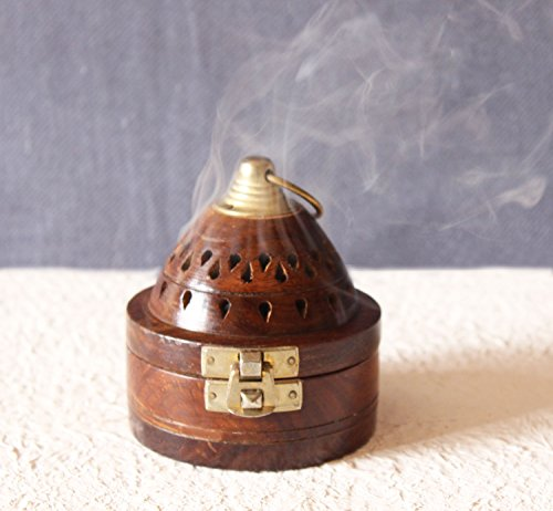 Handmade Wooden Classic Pyramid Design Incense Cone Dhoop Burner Holder with Top Cone Shape Incense Burner Box