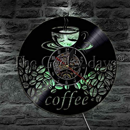 1 Kaffeetasse und Kaffeebohne LED Licht Vinyl Schallplatte Wanduhr Dampf Kaffee Küche dekorative Beleuchtung LED Pendelleuchte