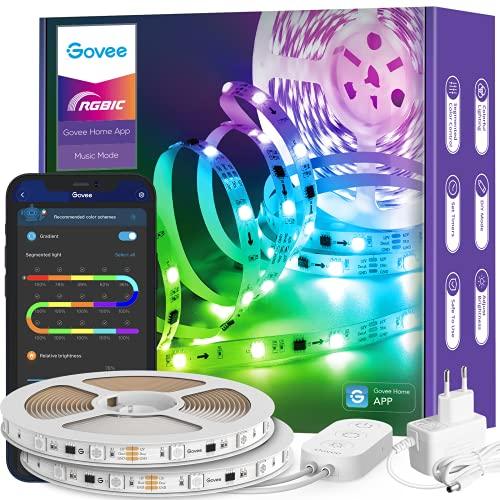 Govee RGBIC LED Strip 10m, LED Streifen Bluetooth, Musik Sync, Segmentcontrol, Farbwechsel, 64 Szenenmodus, Steuerbar via App, für Party, Zuhause, Schlafzimmer, TV, KücheDeko