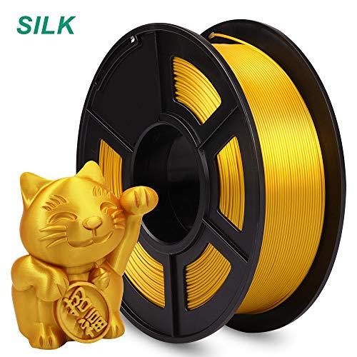 AnKun Pla+ Filamento 1,75 mm, PLA Plus materiale di stampa 3D per stampante 3D e penna 3D, precisione dimensionale +/- 0,02 mm, 1 kg 1 bobina, Seta Oro Chiaro, 0