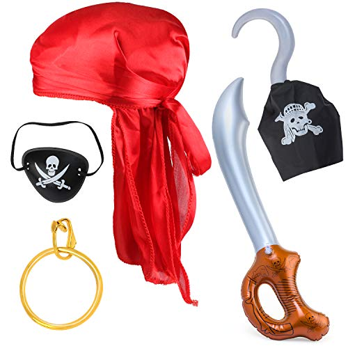 Haichen 5 Pieces Halloween Pirate Costume Accessories Durag Long-Tail Headwraps CapPirate Eye Patch Gold Earring Sword Hook Pirate Role Play Set (Red Durag Set)