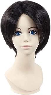 NiceLisa Heat Resistant Short Black Brown Hairs Boy Man Halloween Cosplay Costume Anime Wigs