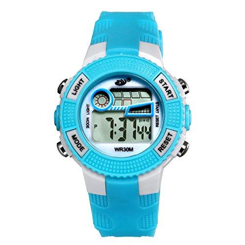 Kinder Digital Sportuhren, LANCARDO Jungen wasserdichte Sportuhr mit Wecker Stoppuhr, LED Armbanduhr mit Chronograph, Wecker für Kinder Weiss blau