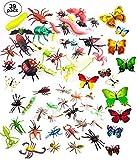OOTSR 39pcs Insetti e Insetti in plastica per Bambini, Figure di Insetti Giocattoli con Adesivo da Parete Farfalla Colorata per Istruzione/Giocattoli di Halloween/Feste a Tema/Regali di Compleanno