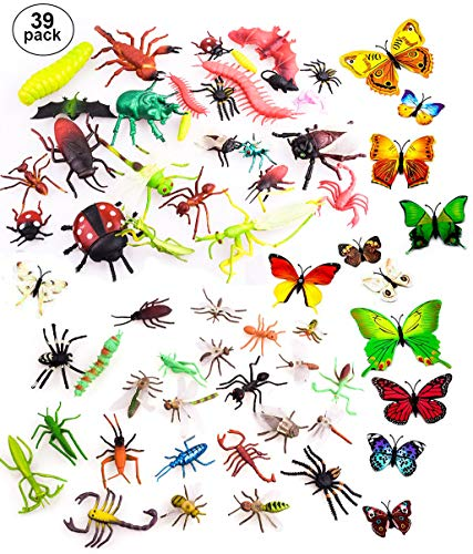 """OOTSR 39 Pcs Random Plastic Insects Bug Toys for Kids Boys, 2-6"""" Fake Bugs - Fake Spiders, Cockroaches, Scorpions, Crickets, Lady Bugs, Butterflies and Worms for Education and Christmas Party Favors"""