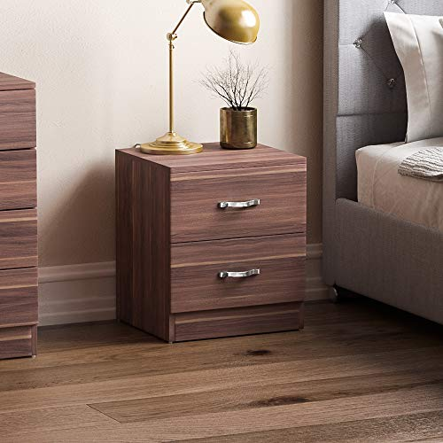 Vida Designs Walnut Bedside Cabinet, 2 Drawer With Metal Handles & Runners, Unique Anti-Bowing Drawer Support, Riano Bedroom Furniture
