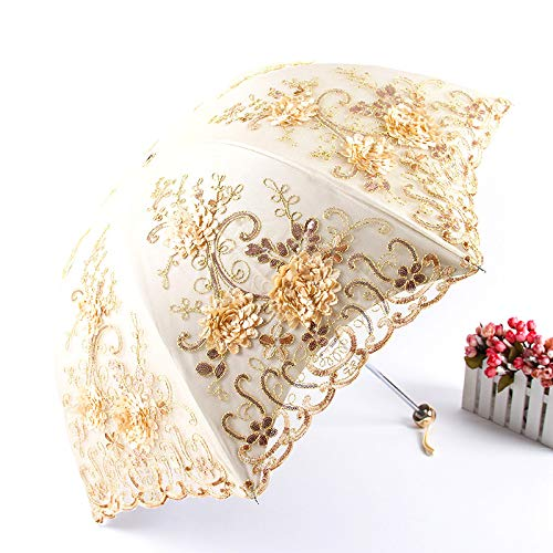 Paraguas de protección solar bordado Noble Princess manual tres plegable mujer sombrilla transparente encaje UV mini paraguas de bolsillo (color amarillo