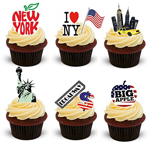 30 Stand Up New York City Themed Edible Wafer Paper Cake Toppers Decorations by Top That