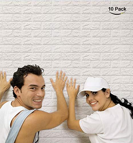 NHSUNRAY 3d Ziegelstein Tapete Selbstklebend für Wohnzimmer Dekor (60 x 60 cm 10 Stück)