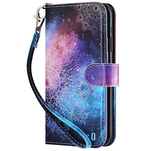 ULAK iPhone XR Hülle, Premium Lederhülle mit Card Holder Flip Cover Tasche Brieftasche Schutzhülle Magnet Handyhülle Standfunktion mit Kartenfächer Phone Hülle für iPhone XR 6,1 Zoll - Mandala