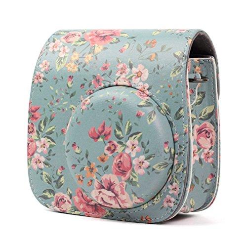 LEDMOMO Funda protectora de cuero suave de la PU con correa para el hombro y bolsillo para Fujifilm Instax Mini 8 8+ / Mini 9 cámara instantánea (Floral Azul)