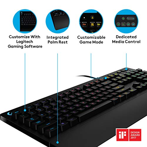 Logitech G213 Prodigy Gaming Keyboard, RGB Backlit, Qwerty UK Layout, Black