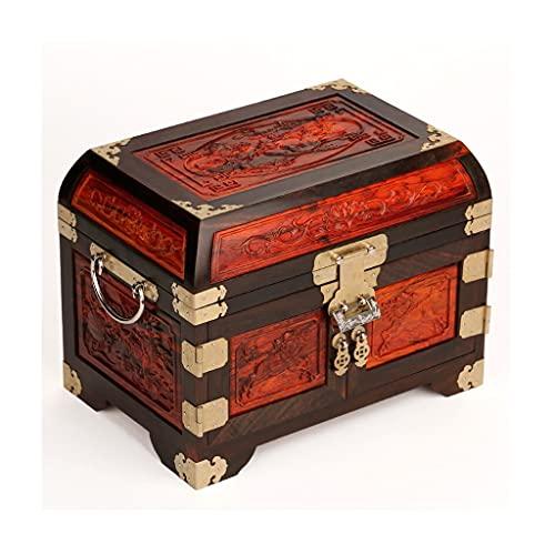 Yousiju Caja de joyería vintage de madera hecha a mano con cerradura de metal para almacenar joyería tesoro perla exhibición
