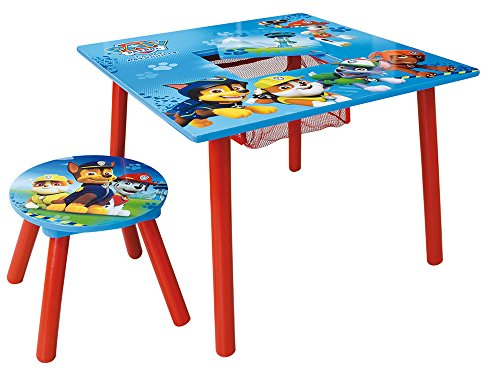 Fun House Tafel, vierkant, met opberging, kruk voor kinderen, MDF, 65 x 65 x 10 cm