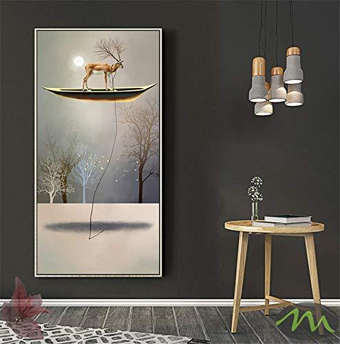 Lienzo de estilo moderno, póster de lienzo de barco dorado, pintura abstracta dorada, imágenes artísticas de pared para sala de estar, 45X90cm sin marco