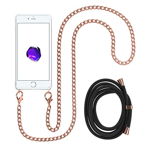 EAZY CASE Handykette kompatibel mit Apple iPhone 8/7 / SE (2020) Handyhülle mit Metal Umhängeband und Ersatz Kordel schwarz, Handykordel mit Schutzhülle, Stylische Kette mit Hülle, Rosé