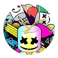マシュメロ Marshmello 高い人気DJ 壁掛け時計 木製掛け時計電池式 掛け時計 おしゃれ 円形 静音 ウオールクロック インテリア 部屋装飾