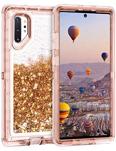 Coolden Case for Galaxy Note 10 Plus Cases Protective Glitter Case for Women Girls Cute Bling Sparkle Quicksand Heavy Duty Hard Shell Shockproof TPU Case for 2019 Galaxy Note 10+ Plus 5G, Rose Gold