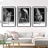 ZYQYQ Bilder Leinwand Wandkunst Skandinavische Dekoration Bild Abstrakte Poster Schwarz Weiß Ballerinas Druck Malerei Nordic Wohnzimmer Dekor 50x70cmx3 Kein Rahmen