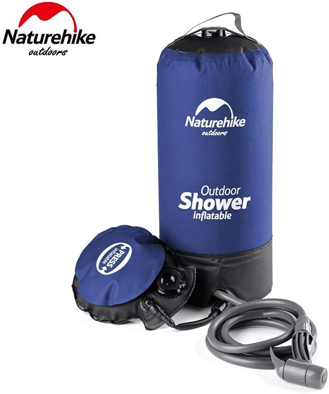 Free walker Naturehike Outdoor Inflatable Shower Pressure Water Jet Shower Bag Potable Water Bag for Outdoor Bathing,Car Washing (bluee)