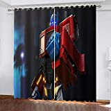 BTBDWOSV Cortinas Opacas, Robot De Dibujos Animados 182X214 Cm (Ancho X Alto) Printing Cortinas 2 Paneles Set para Sala De Estar Comedor Kids Room Thermal Insulated Room Blackout Curtain, Cortinas