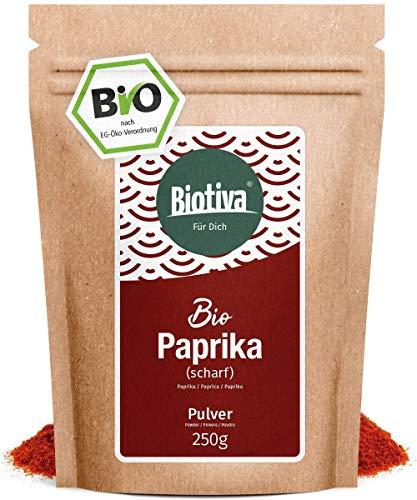 Poivrons (chaud) au sol (250 g, Bio) - paprika Intense - 100% - qualité organique élevée poudre aromatique - Pour les gourmands et les connaisseurs - bouteille et contrôlés en Allemagne (DE-ÖKO-005)