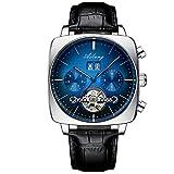 JKYIUBG Relojes mecanicos, Reloj Suizo mecánico automático cronógrafo Cuadrado Reloj de Esfera Grande Hueco Impermeable 2020 nuevos Relojes de Moda para Hombre