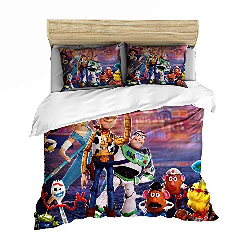 DCWE Disney - Juego de Funda de edredón Reversible para niñas y niños, diseño de Flores, poliéster, Toy Story, 12, 135X200CM