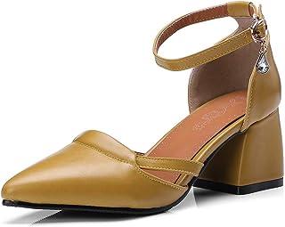 BalaMasa Womens APL12078 Pu Block Heels