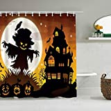 Tenda da doccia Halloween Luna Spaventapasseri Corvo Zucca Lanterna Casa Pipistrello Impermeabile Tende da bagno Ganci inclusi - Idee Decorative per il bagno Accessori in Tessuto di Poliestere