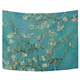 WIHVE Van Gogh Tapestry Wall Hanging, Almond Blossom Branches Tree Wall Tapestry Vintage Cultural Print Décor for Bedroom Living Room Dorm 80 x 60 Inches, White and Blue