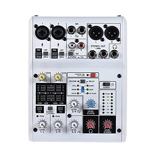 Mezclador de Audio Consola De Mezcla De Tarjeta De Sonido De 6 Canales Incorporada 48V Phantom Power con Adaptador De Corriente Cables USB Easy Monitoring y Operación
